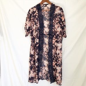 Forever 21 sheer navy blue and floral  kimono